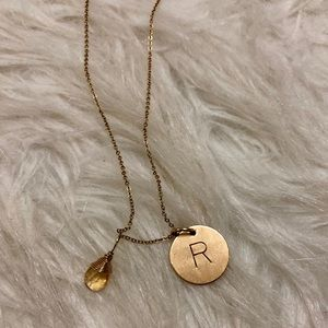 """Nashelle """"R"""" initial charm necklace"""